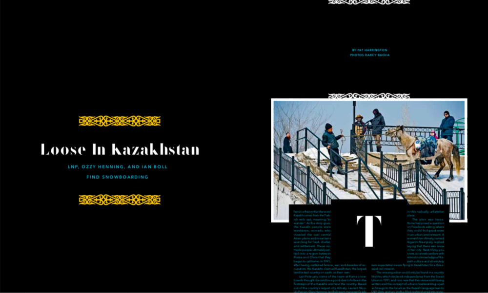 Editorial  highlighting the Rome Snowboard team's trip to Kazakhstan, 2015