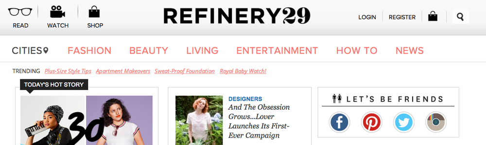 Refinery 29 Home page