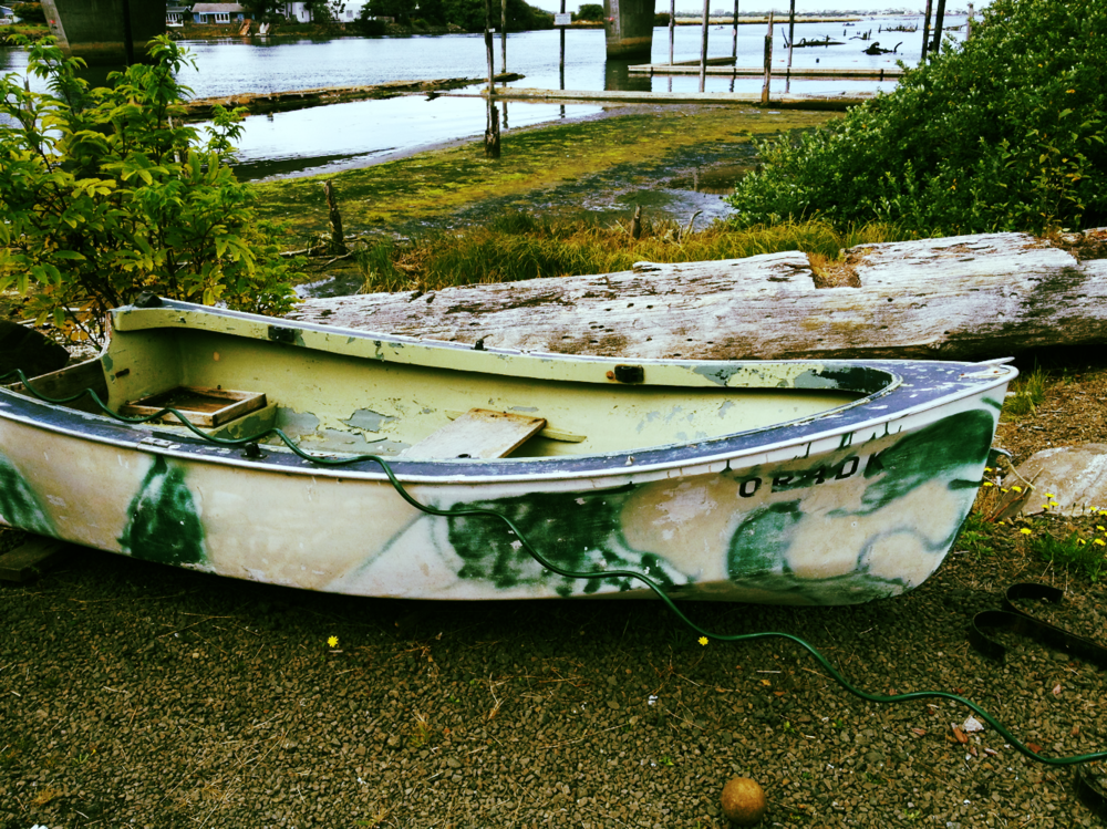 I found this at a garage sale, and I really really wanted to buy this boat to paint and make a bed out of it (see below), but there is no way this will fit up our tiny victorian stairs.  Very sad indeed.