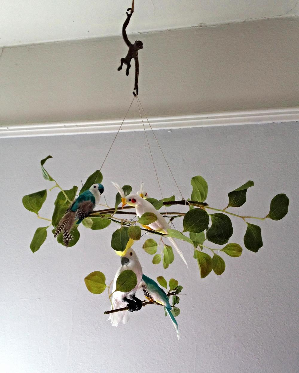 A unisex baby mobile inspired by the jungle.  Vintage monkey with exotic birds.  Custom made by Cass & Merlune.