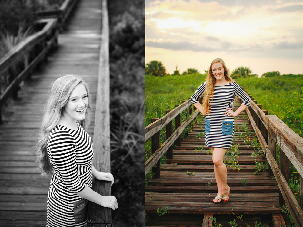 rustic beach boardwalk senior portraits.jpg