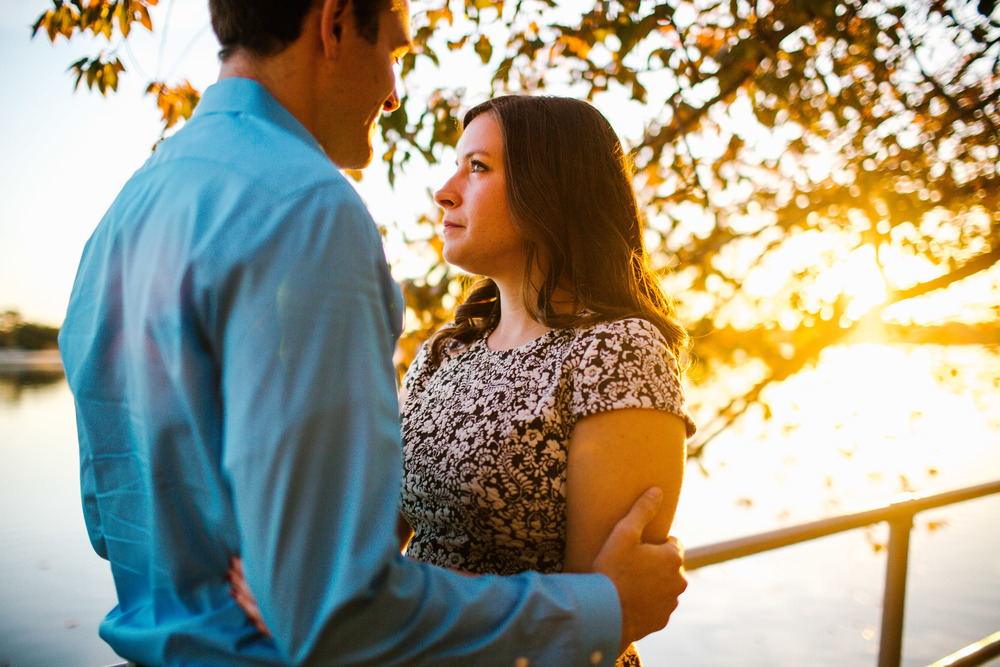 Sunset fall engagement photos DMV area