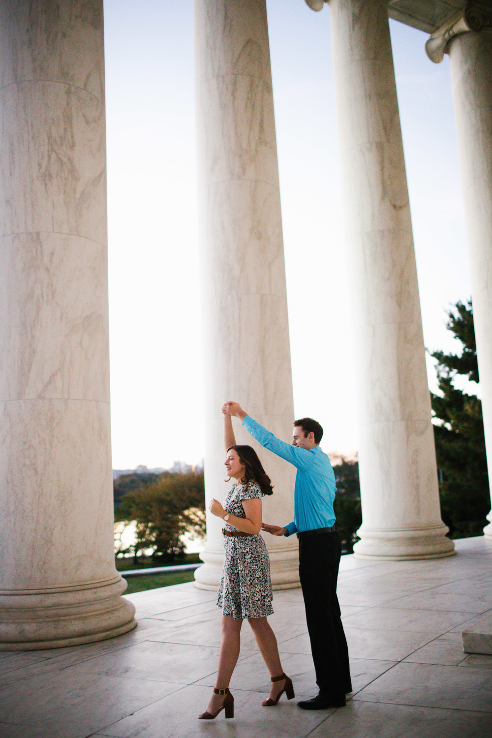 sunset portrait session of engaged couple bride and groom wedding washington dc