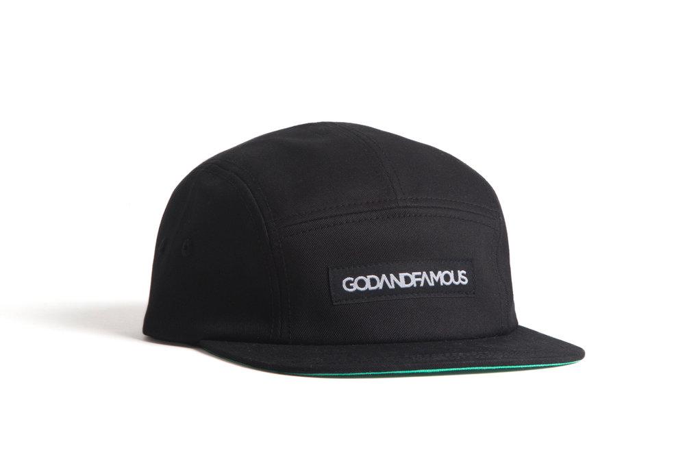6947d8e7615a0 5-Panel Cap - Black — God   Famous