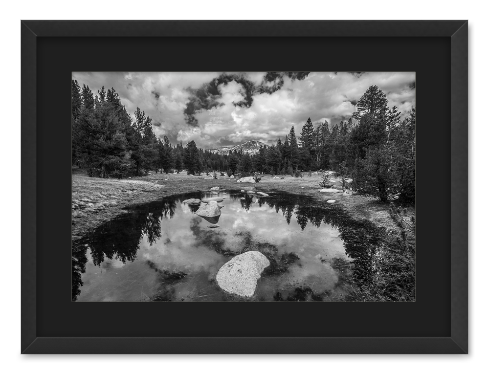 yosemite high country black and white 18x24 print with mat in rustic frame julia lance photography design