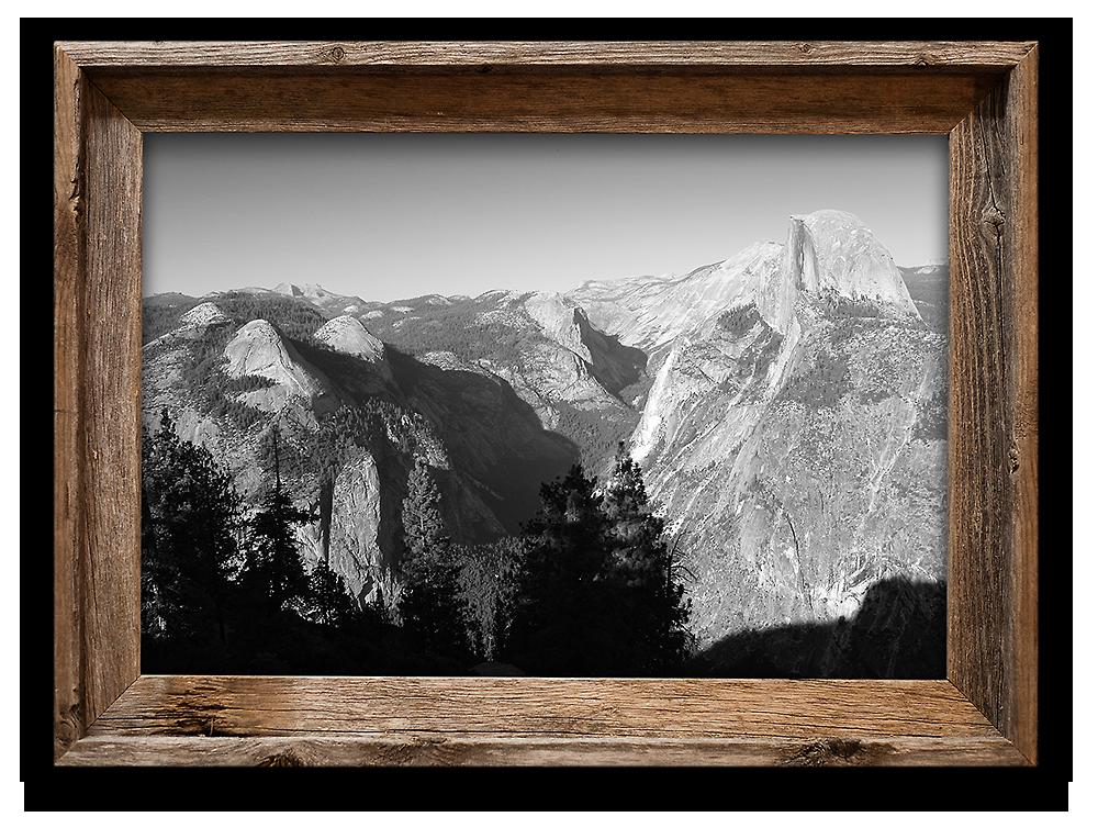 Glacier Point, Yosemite — 20x30 metallic print in barnwood frame ...