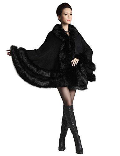 Faux Fox Fur Trim Hooded Cape