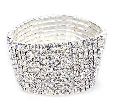 Elastic Stretchy 8 Row Rhinestone Crystal Bracelet. Set of 2.