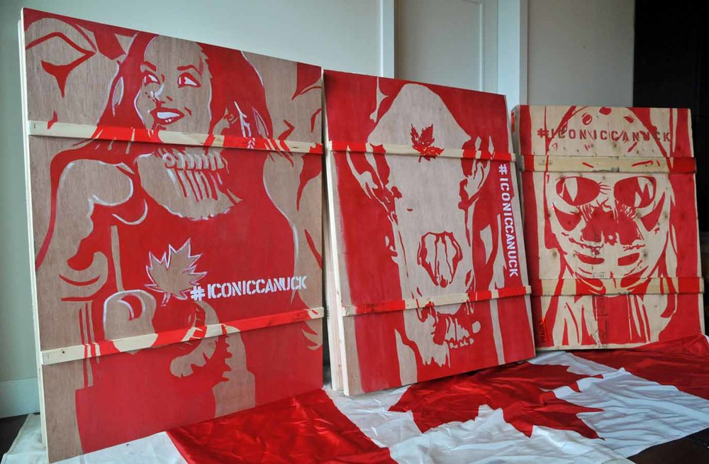Crate exterior hand painted with custom artwork for solo showing in Edmonton #iconiccanuck