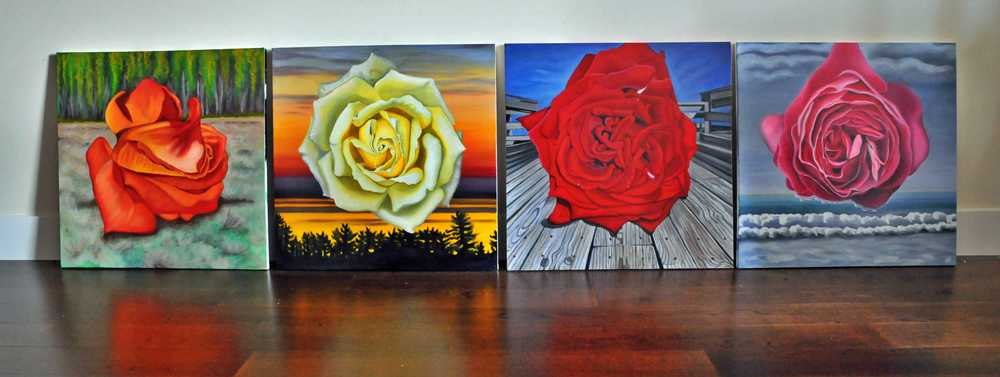 Roses on the Landscape - before hanging @ Gallery Leah Gordon - October 2013