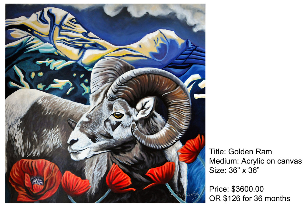 Golden Ram by Brandy Saturley - original acrylic on canvas, 2012