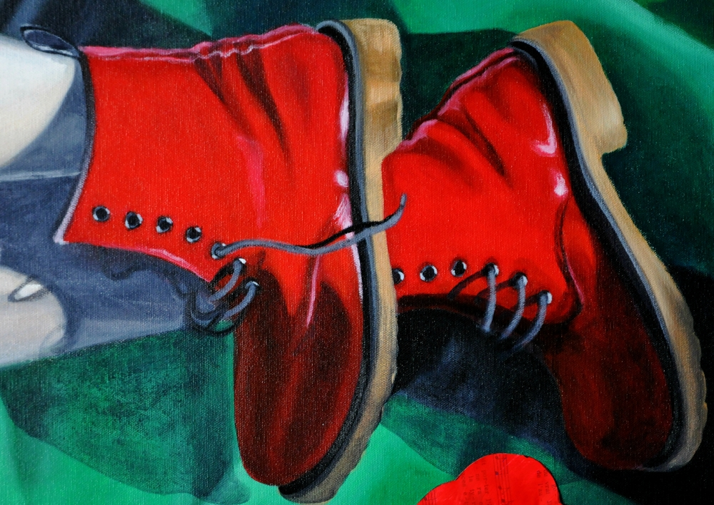 detail of painting showing red Dr. Maartens boots