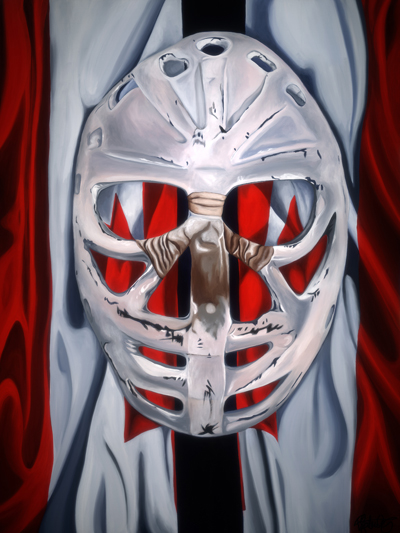 Goalie's Mask: red, white & Dryden