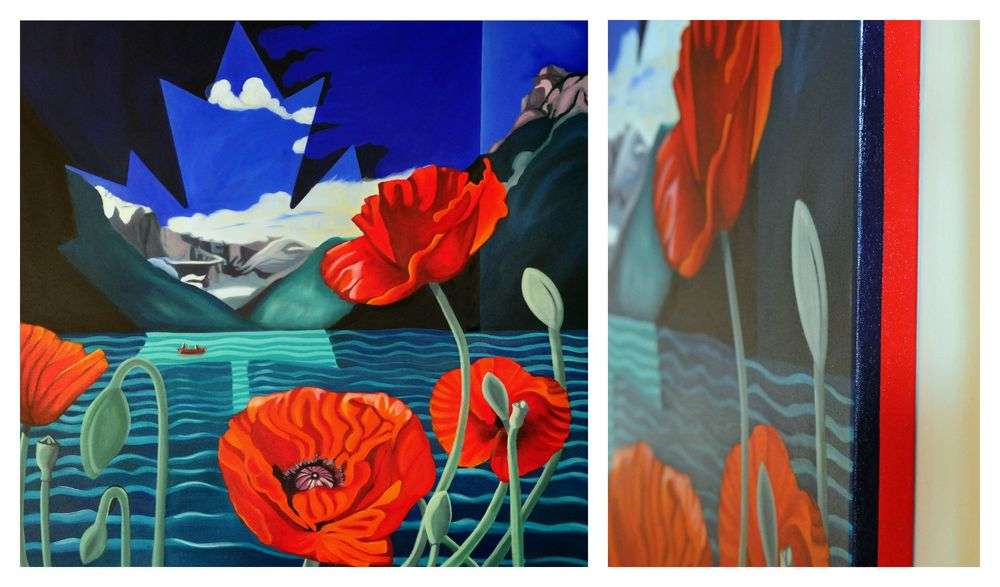 Poppies For Louise - showing a portion of the front of the painting and contrasting painted edge.