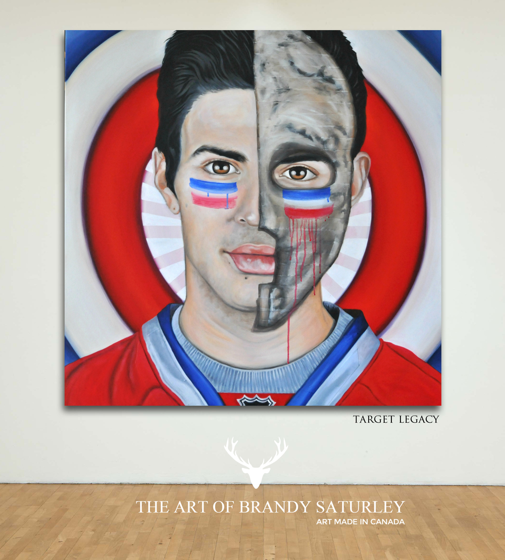 Target Legacy - 36 x 36 original acrylic on Renfrew hockey tape and canvas by Brandy Saturley - 2014
