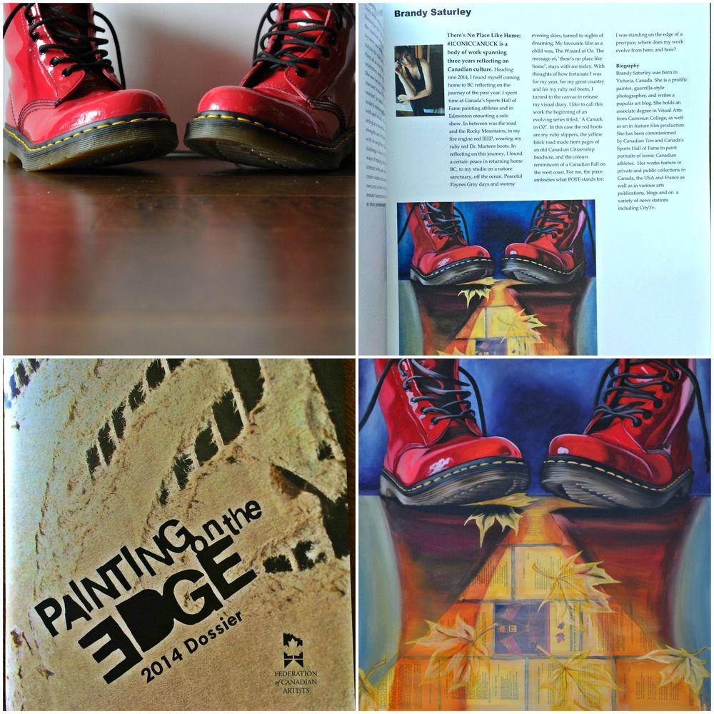 Red Dr. Martens boots - Painting On The Edge Dossier 2014 - There's No Place Like Home, by Canadian artist Brandy Saturley