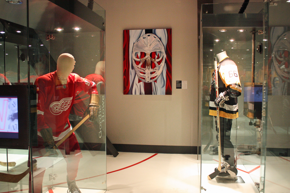 Goalie's Mask: red, white & Dryden by Brandy Saturley at Canada's Sports Hall of Fame, 2012