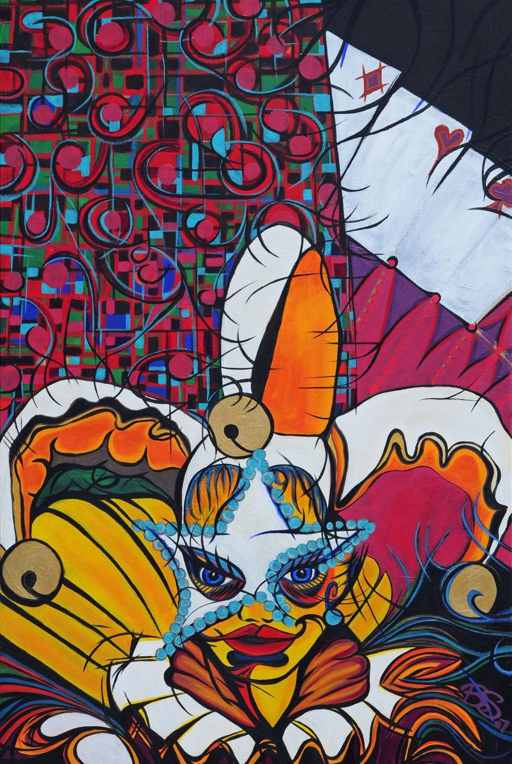 O Las Vegas - painting by Brandy Saturley of Las Vegas Jesters, 2007