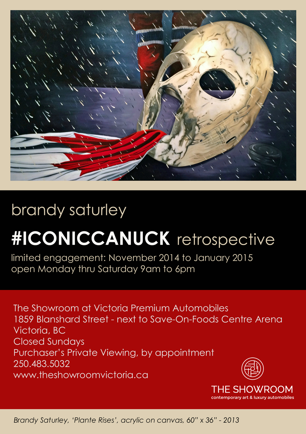 #ICONCICCANUCK - paintings by Canadian artist Brandy Saturley at Victoria Premium Automobiles in Victoria, BC