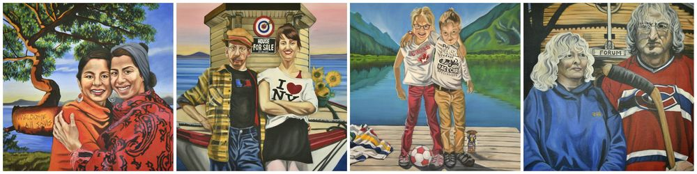 The first four paintings for the People of Canada Portrait Project. A collaboration between Canadians and Canadian Visual artist, Brandy Saturley. People of Canada Portrait Project - an interview with the CBC here.