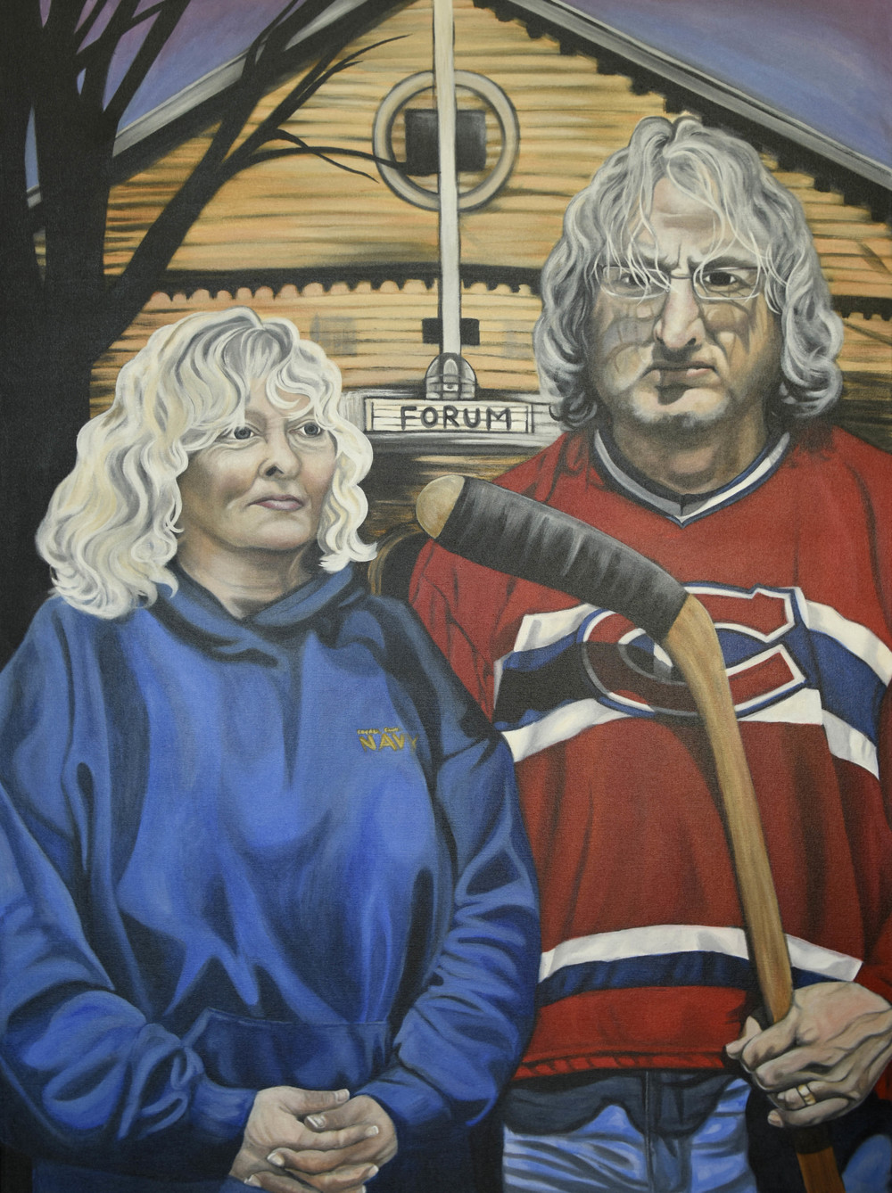 Canadien's Gothic - 36x48, original acrylic on canvas, Brandy Saturley, 2014.  People's Choice Award, Art: Objet De Sport @ Gallery 501, Sherwood Park, AB