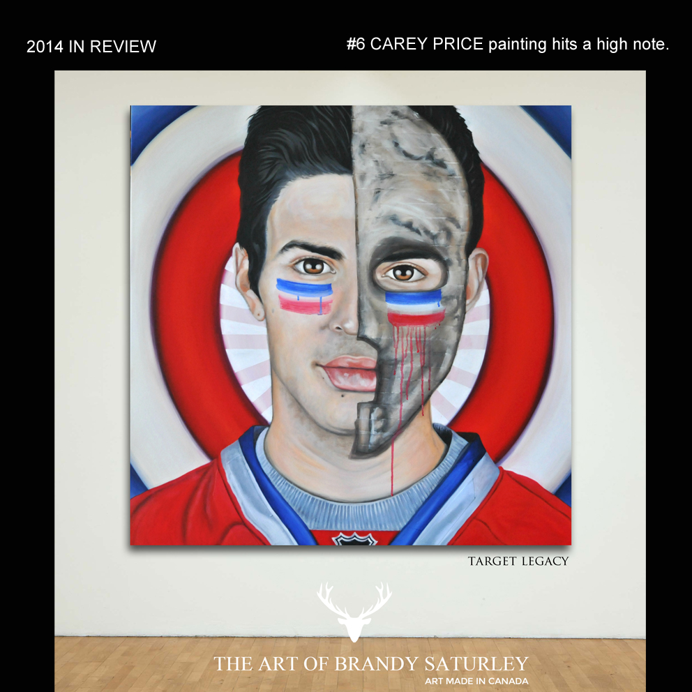 #6 - my Carey Price painting grabs some attention. In it's first week this piece saw over 1600 views and over 700 plays of the video of the making of the piece. Thanks ...to Habs nation, and AllHabs Hockey Magazine, for the original pick-up and push out of the piece to the masses. Also, thank you to hockey bloggers Dennis Kane and Stephen Smith of Puckstruck for sharing my Carey. http://canadianpopart.squarespace.com/blog/2014/5/9/a-timely-painting-grabs-attention