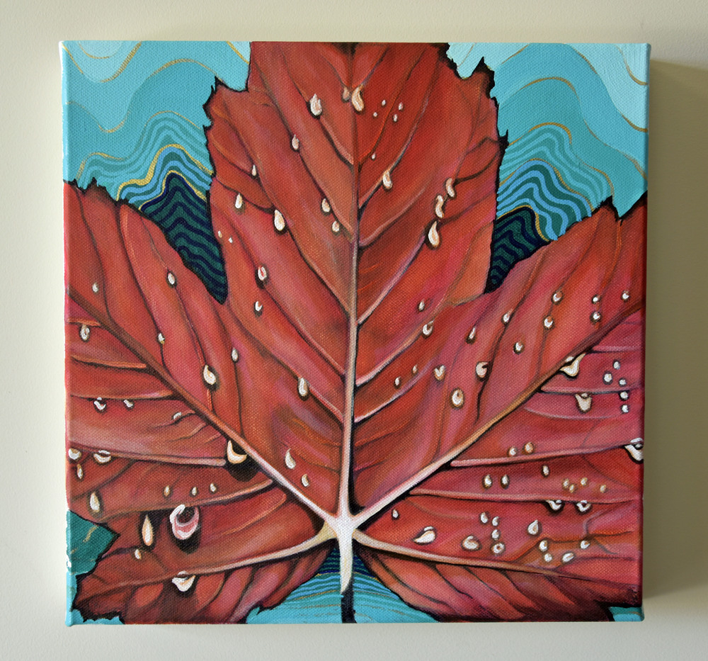 Weeping Maple - 12x12 - acrylic on canvas - part of 'The 99' Canada in the Details - 2015 Brandy Saturley