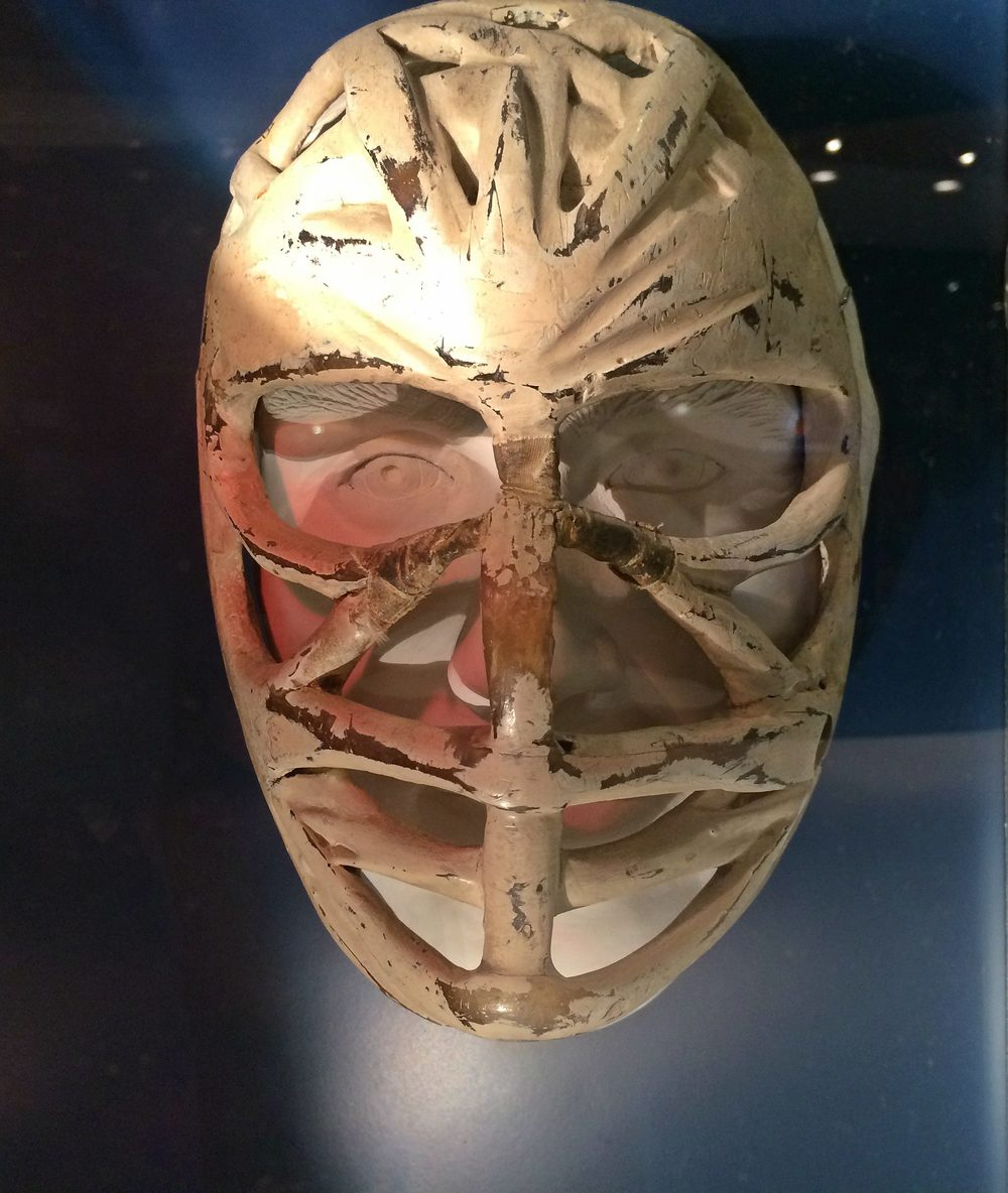 Ken Dryden's Pretzel Mask at the Hockey Hall of Fame in Toronto, Ontario.