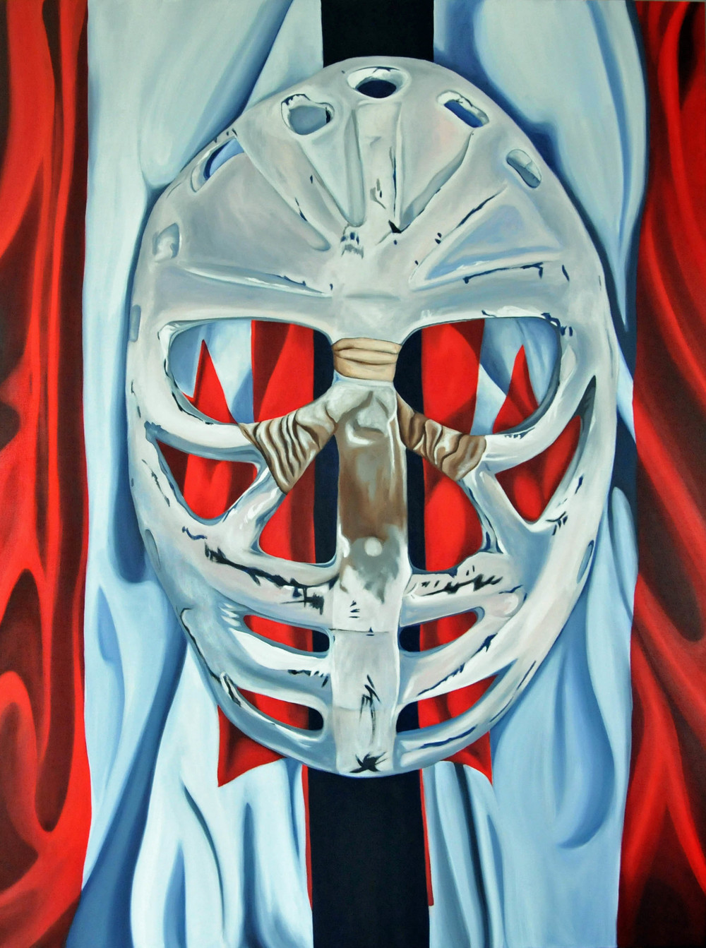 Goalie's Mask: red, white & Dryden - Brandy Saturley, 2011