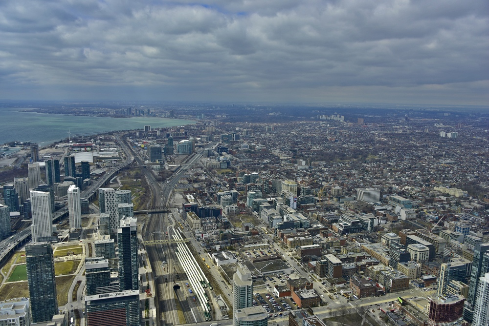 View of downtown Toronto looking East from CN Tower, April 2015.