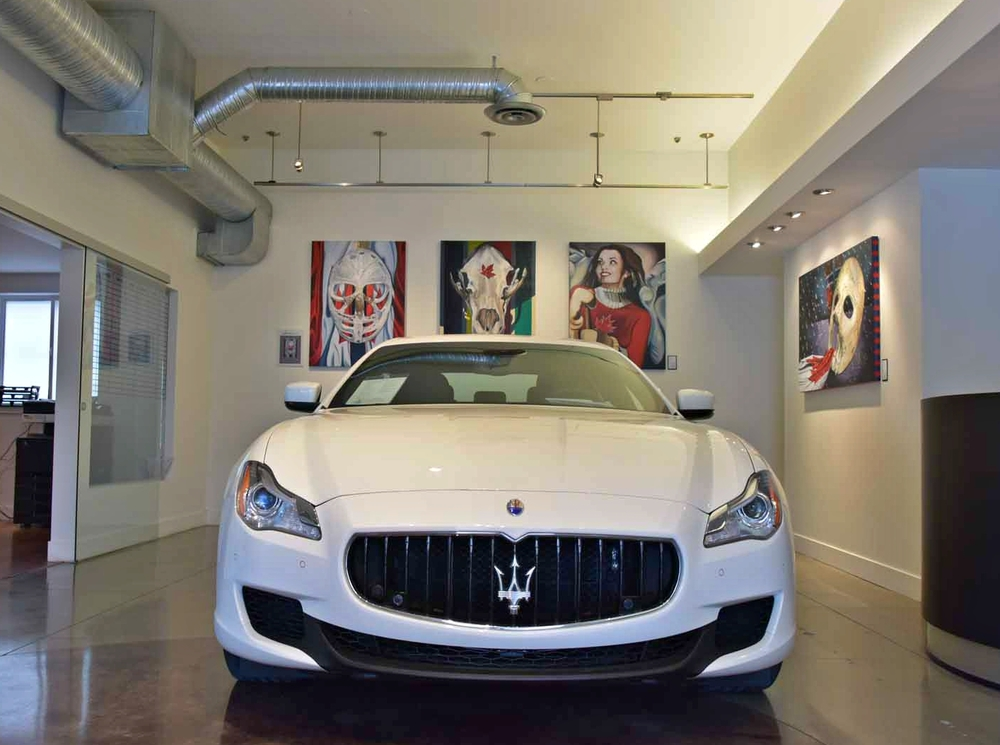 Automobile: Maserati  Art: Goalie's Mask paintings, Bear Skull, and portrait from #ICONICCANUCK by Brandy Saturley