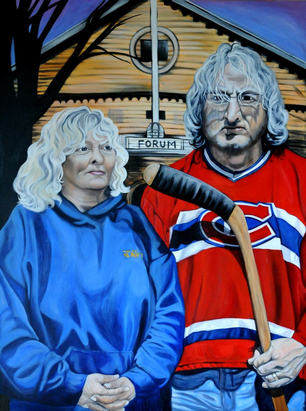 Canadiens Gothic acrylic on canvas 2014 - Brandy Saturley - Canadian social surrealism