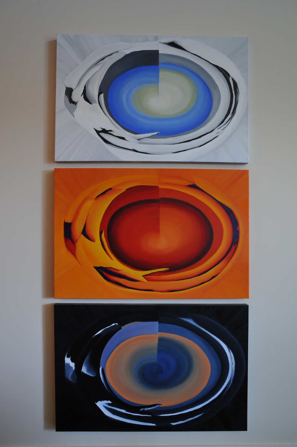 What Goes Around, Comes Around, triptych - abstract landscapes acrylic on canvas, 2007 - Canadian painter, Brandy Saturley