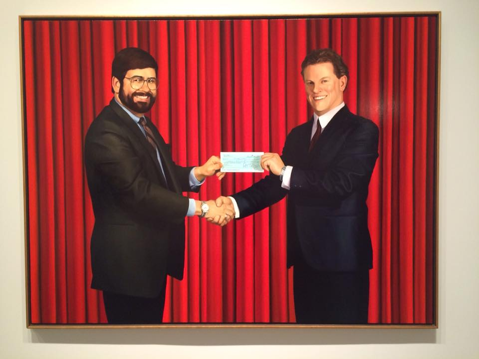 "Chris Cran, ""Self portrait; Accepting a Cheque for the Commission of this Painting,"" - Sincerely Yours at The AGA"