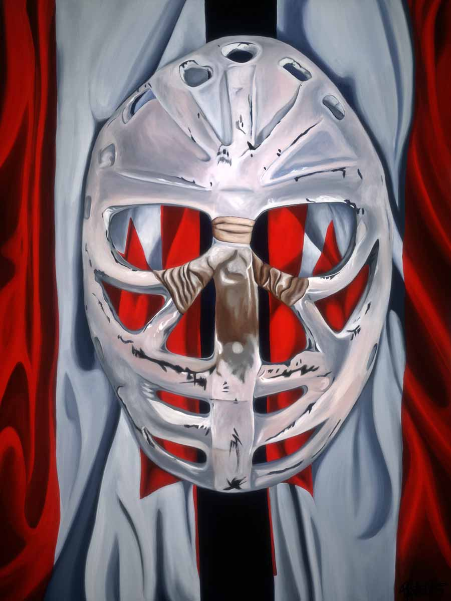 Goalie's Mask: red, white and Dryden, 2011 - Brandy Saturley - Private Collection