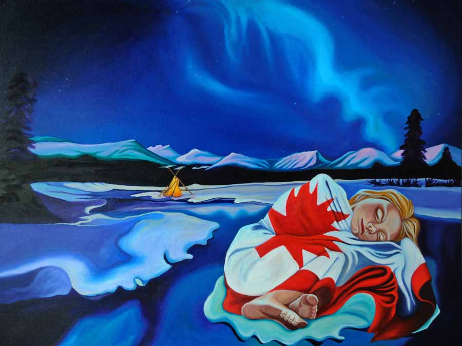 Under a Borealis Sky, 2012 - Brandy Saturley - a composition with the Canadian flag.