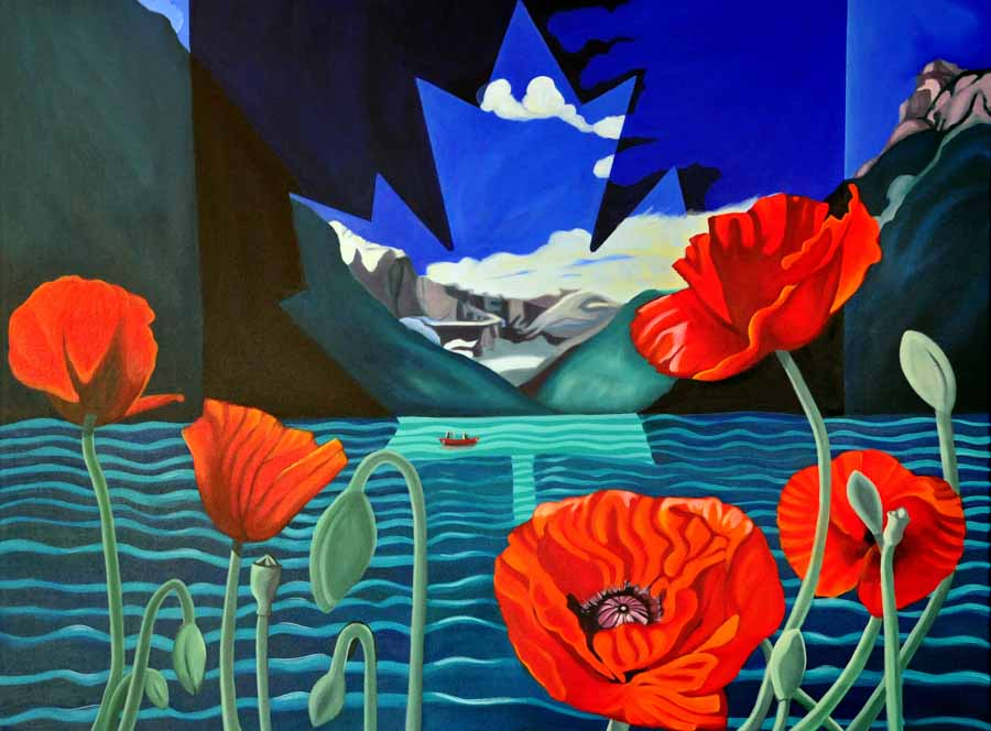 Poppies For Louise, 2011 - Brandy Saturley - a composition based on the Canadian flag.