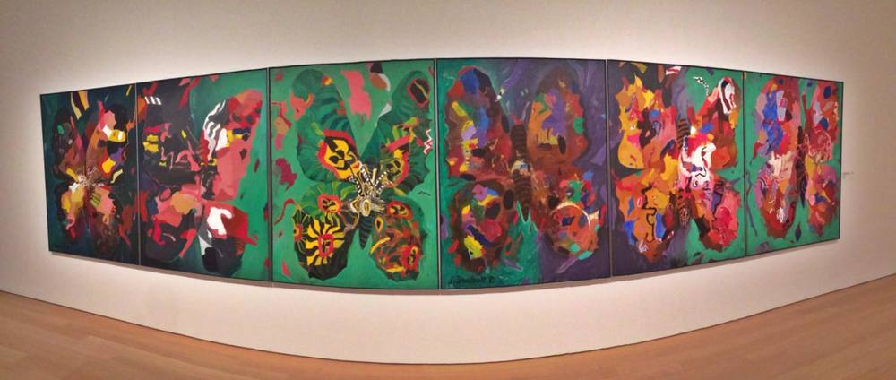 The Jack Shadbolt 'Butterflies' feature wall in the contemporary room, Audain Art Museum. Photo: Brandy Saturley, iPhone