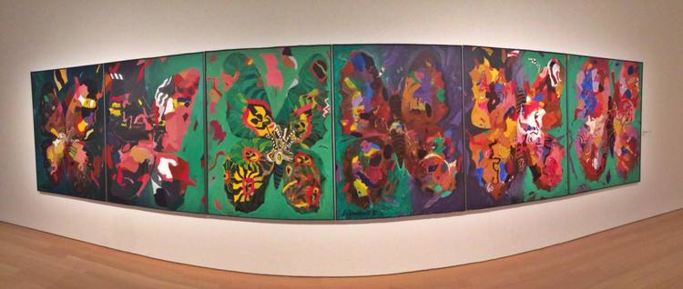 The Jack Shadbolt 'Butterflies' feature wall in the contemporary room, Audain Art Museum