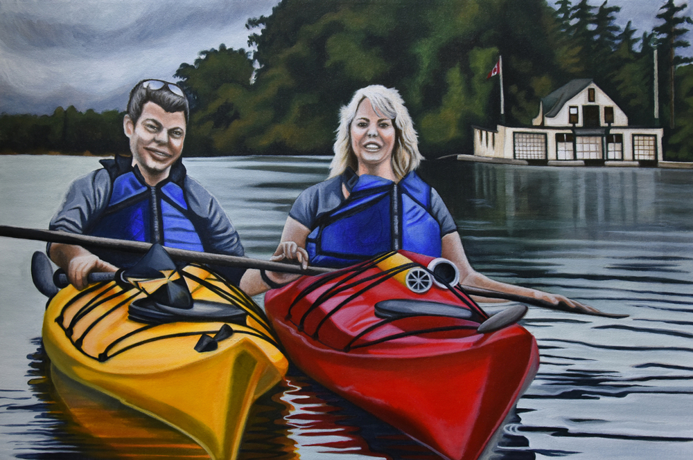 Love Canoe - 24x36, original acrylic on canvas, Brandy Saturley, 2016
