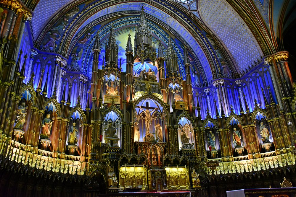The artistry and architecture inside the Notre Dame Basilica in Old Montrea, Quebec