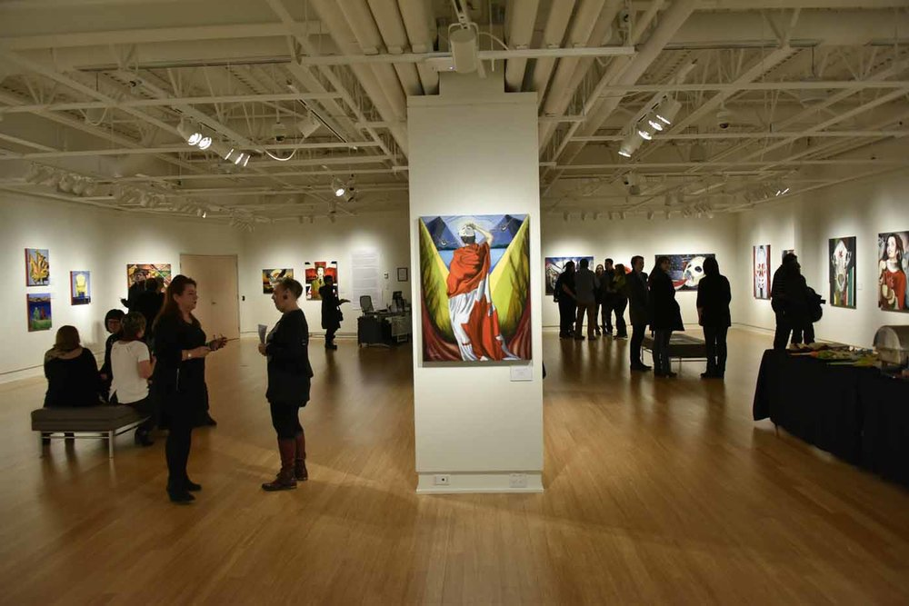 "Strathcona County Art Gallery @501 - exhibition view, opening night ""Canadianisms"" by Brandy Saturley"