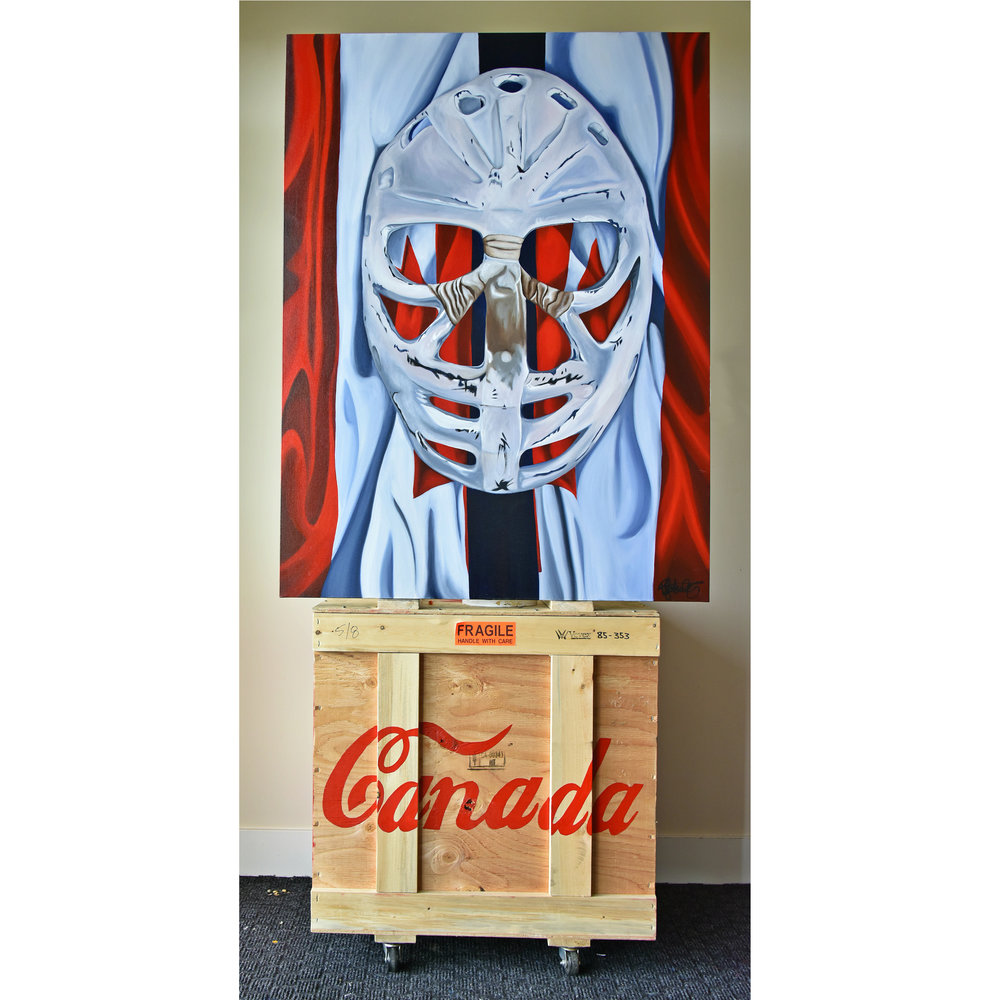 Goalie's Mask: red, white and Dryden, acrylic on canvas, 2011 on art shipping crates in the studio. Brandy Saturley, Canadian Painter
