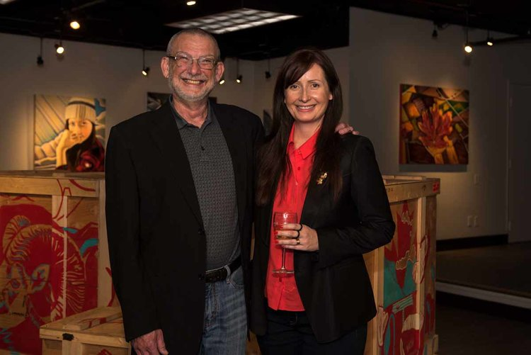 Calgary Artist Gordon Milne with Victoria Artist Brandy Saturley at the opening of Saturley's 'Canadianisms' at Okotoks Art Gallery, June 2017. | photo: Penny Rogers