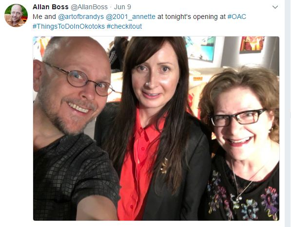 With Okotoks Culture & Heritage Manager, Allan Boss and Okotoks artist Annette Resler