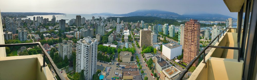 view from the 35th floor at Empire Landmark Hotel, Vancouver BC