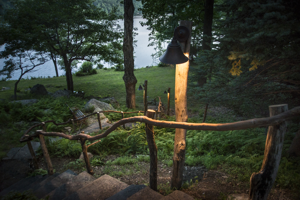 Locally sourced Hudson River driftwood and vine railings
