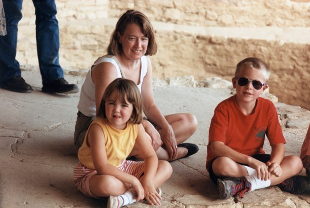 I don't know what those teachers were thinking, we're totally normal (l to r  - me, Babs, and my brother at Mesa Verde)