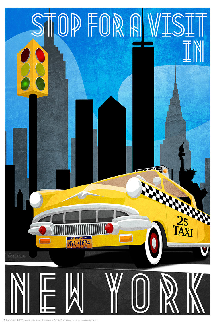 Poster New York Taxi.New York Vintage Style Travel Poster Kandelight Art Photography