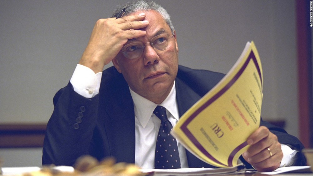 Former Secretary of State Colin Powell,struggling to comprehend the new Towers Scoring System.